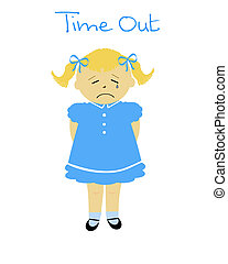 naughty little girl in time out poster illustration