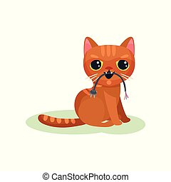 Naughty kitten gnawing wire with plug, mischievous cute...