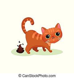 Naughty kitten pooping, mischievous cute little cat vector...