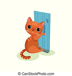 Naughty kitten scratching wallpaper, mischievous cute little...