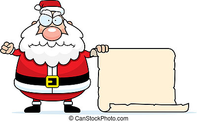 A cartoon Santa Claus with his naughty list.