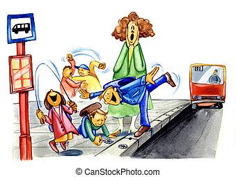 naughty school children on bus stop - painting illustration...