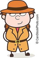 Naughty Smiling Face - Female Explorer Scientist Cartoon Vector