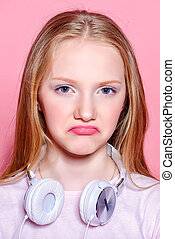 naughty teen girl - Portrait of a funny displeased girl...