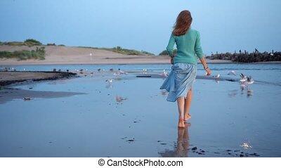 Naughty woman frightening sea gulls birds on sea shore coast. Active girl running toward birds Camera movement follow shot with gimbal.