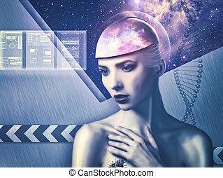 nauka, abstrakcyjny, tła, woman., technologia, cyborg