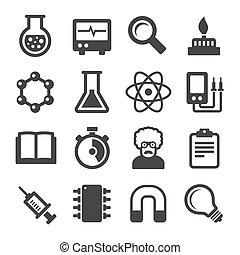 nauka, ikony, komplet, na białym, tło., wektor