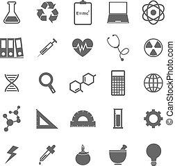nauka, ikony, na białym, tło