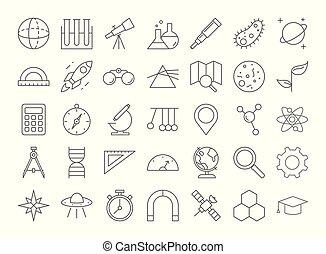 nauka, ikony, set.