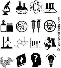 nauka, komplet, ikony
