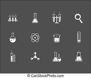 nauka, komplet, praca badawcza, ikony