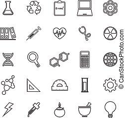 nauka, kreska, ikony, na białym, tło