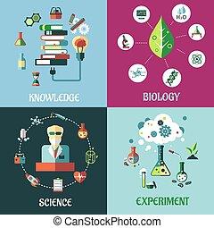 nauka, medycyna, biologia, i, wiedza, płaski, pojęcia