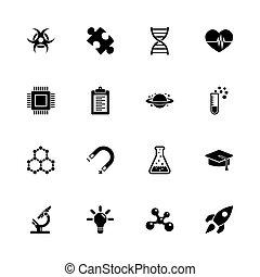 nauka, -, płaski, wektor, ikony