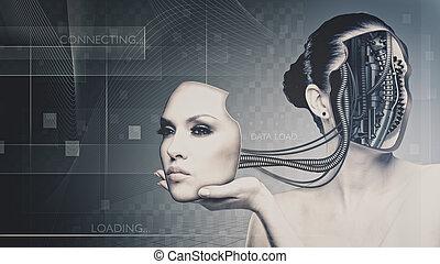 nauka, przyszłość, projektować, samica, portret, technologia, twój