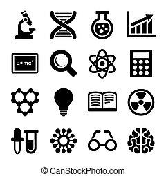 nauka, set., wektor, ikony