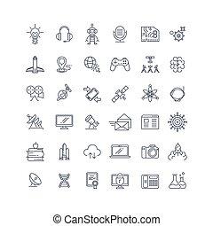 nauka, technologie, wektor, kreska, ikony