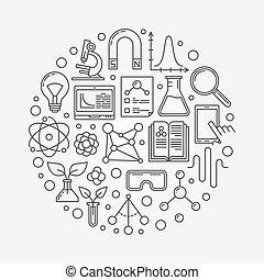 nauka, wektor, okrągły, ilustracja
