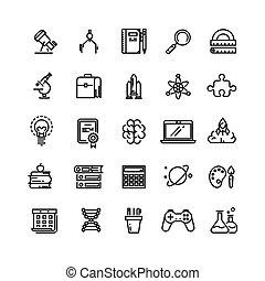 nauka, wektor, wykształcenie, linearny, ikony