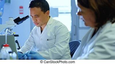 naukowcy, pracujący, dwa, 4k, laboratorium