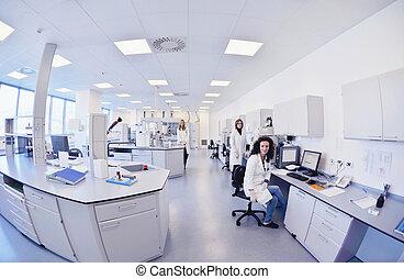 naukowcy, pracujący, przedimek określony przed rzeczownikami, laboratorium