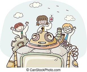 naukowiec, stickman, robot, ilustracja, dzieciaki
