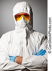 naukowiec, w, ochronny chodzą