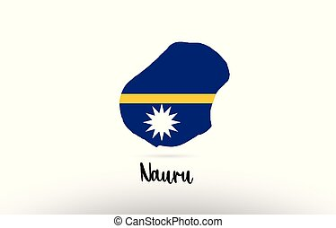 Nauru country flag inside map contour design icon logo