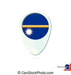 Nauru flag location map pin icon on white background. Vector...