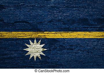 Nauru Flag painted on old wood texture