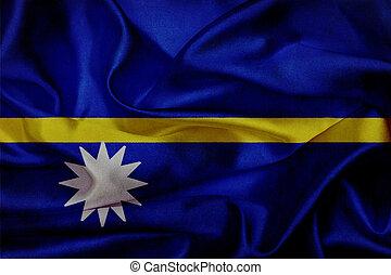 Nauru grunge waving flag