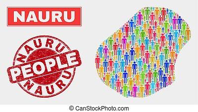 Nauru Map Population Demographics and Corroded Stamp Seal - ...
