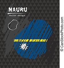Nauru national vector map with sketch chalk flag. Sketch chalk hand drawn illustration