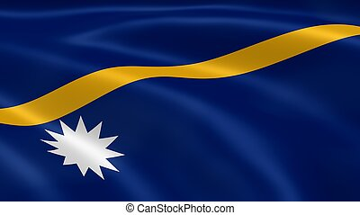 Nauruan flag in the wind