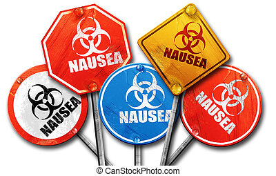 Nausea concept background, 3D rendering, rough street sign colle