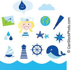 nautic, e, aventura, ícones