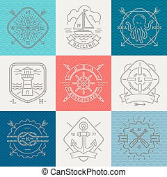 Nautical, adventures and travel emblems signs and labels - Line drawing vector illustration