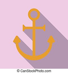 Nautical Anchor isolated background. Ship anchor, vintage icon. Vector illustration for marine and heraldry design.