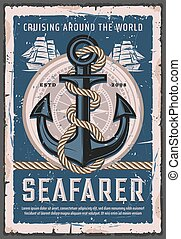 Nautical anchor with rope, seafarer sailing ship - Seafarer ...
