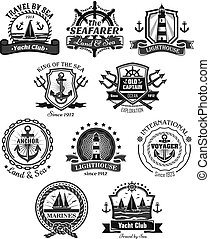 Nautical and marine symbols vector icons set - Yacht club...