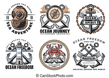 Nautical and navy vintage labels