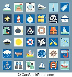 nautical and sailor, flat icon set