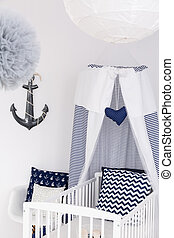 Nautical baby bed with canopy