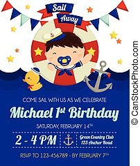 Nautical Baby Boy Invitation