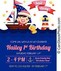 Nautical Baby Girl Invitation