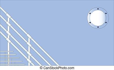 A nautical background of steps and a port hole.