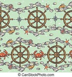 Nautical background, Marine pattern - Nautical background,...