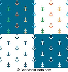 Nautical background seamless pattern with anchor