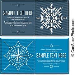 Set of blue nautical flyers