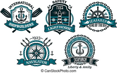 Nautical badges and emblems set in heraldic style with...
